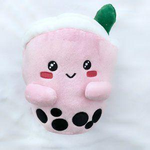 Strawberry milk tea boba plushie